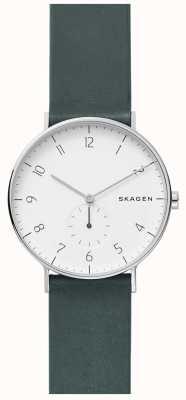 Skagen Mens aaren relógio pulseira de couro verde SKW6466