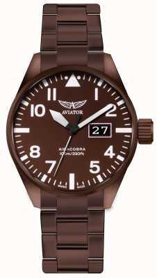 Aviator Mens aircobra p42 bronze aço revestido de relógio V.1.22.8.151.5