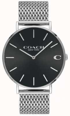 Coach Relógio de mostrador preto com pulseira de malha de prata charles para homem 14602144