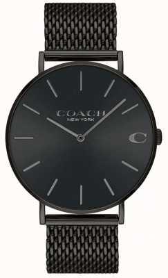 Coach Mens charles preto pulseira de malha preta mostrador do relógio 14602148