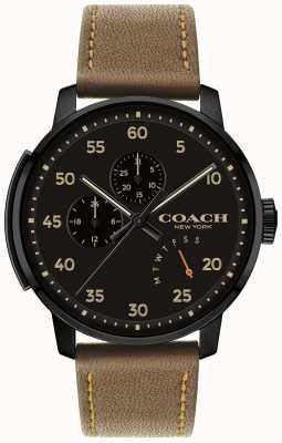 Coach Mens bleecker assistir multi função mostrador preto 14602339