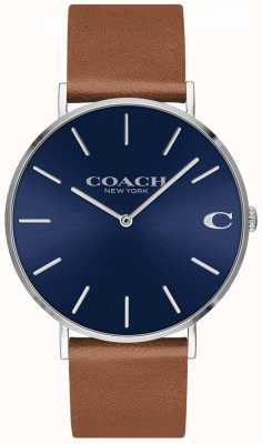 Coach Cinta de couro marrom mens mens charles 14602151