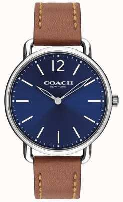 Coach Mens delancey slim relógio azul mostrador pulseira de couro marrom 14602345