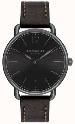 Coach Mens delancey slim relógio preto mostrador preto pulseira de couro 14602346
