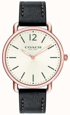 Coach Mens delancey relógio fino mostrador branco pulseira de couro preto 14602347