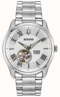 Bulova Mens wilton relógio de prata de aço inoxidável automático 96A207