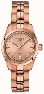 Tissot Senhoras pr100 rosa pulseira de ouro mãe de relógio com mostrador de pérola T1010103345100