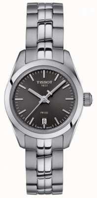 Tissot Senhoras pr100 pulseira de aço inoxidável relógio com mostrador preto T1010101106100