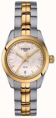 Tissot Senhoras pr100 mãe de pulseira de dois tons de relógio de discagem pérola T1010102211100