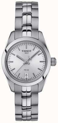 Tissot Senhoras pr100 pulseira de aço inoxidável relógio de mostrador prateado T1010101103100