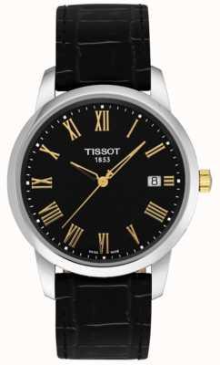 Tissot Mens classic dream couro preto mostrador preto numerais romanos T0334102605301