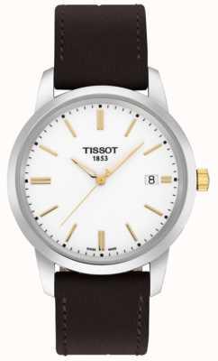 Tissot Mens clássico sonho pulseira de couro marrom mostrador branco T0334102601101