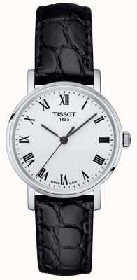 Tissot Womens classic everytime pulseira de couro preto mostrador branco T1092101603300