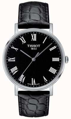 Tissot Mens everytime preto pulseira de couro em relevo mostrador preto T1094101605300