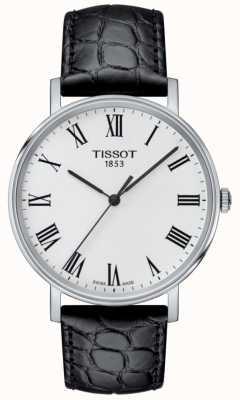 Tissot Mens everytime preto pulseira de couro em relevo mostrador branco T1094101603301