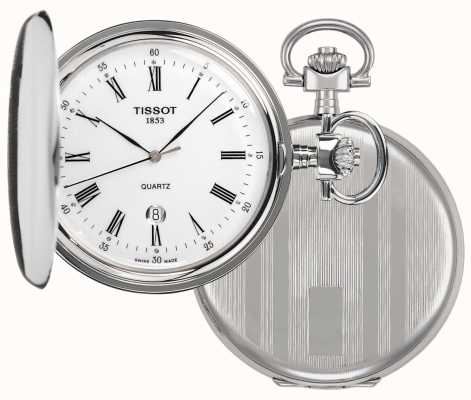 Tissot Relógio de bolso Savonette cheio caçador de aço inoxidável T83655313