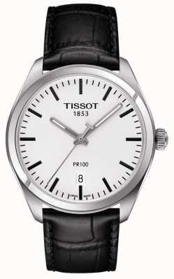 Tissot Mens pr100 pulseira de couro preto mostrador cinza T1014101603100