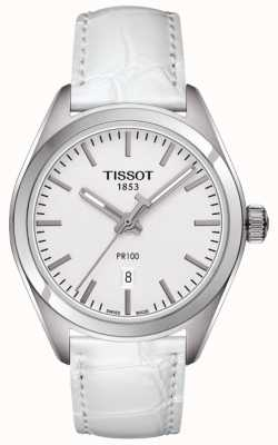 Tissot Mostrador prateado pulseira de couro branco pr100 T1012101603100
