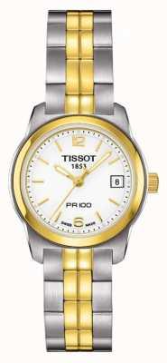Tissot Womens pr100 dois tons de aço inoxidável branco dial banhado a ouro T0492102201700