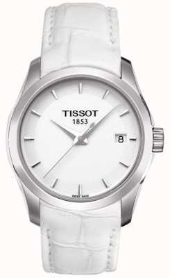 Tissot Mostrador branco de couro branco costureiro das mulheres T0352101601100