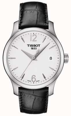 Tissot Womens tradition silver mostrador pulseira de couro preto T0632101603700
