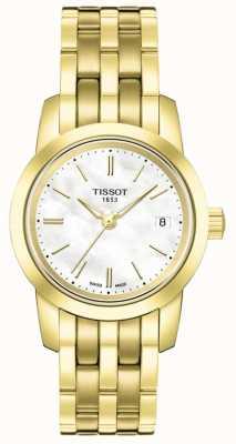 Tissot Womens classic mãe de pulseira de ouro banhado a ouro de discagem T0332103311100