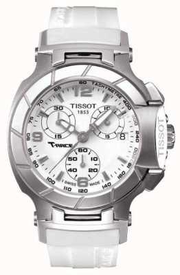 Tissot Mens t-race cronógrafo pulseira de borracha branca mostrador branco T0482171701700