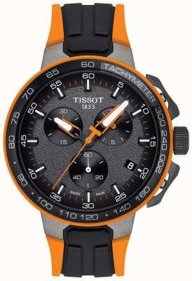 Tissot Mens t-corrida ciclismo pulseira de borracha laranja preta T1114173744104
