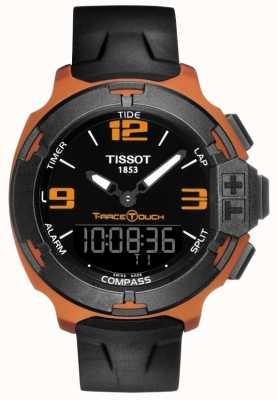 Tissot Mens t-race touch pulseira de borracha preta de alarme T0814209705703