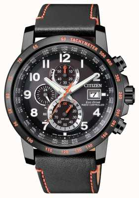 Citizen Mens rádio controlado couro eco-drive mundo temporizador chrono AT8125-05E