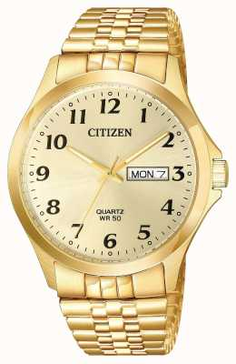 Citizen Mens data de dia de pulseira de expansão de ouro banhado a quartzo BF5002-99P