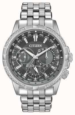 Citizen Calendrier Eco-drive aço inoxidável 32 diamantes cinza dial BU2080-51H