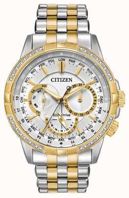 Citizen Mens calendrier eco-drive dois tons 32 diamantes de discagem de prata BU2084-51A