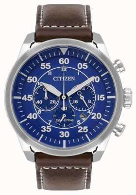 Citizen Mens avion eco-drive pulseira de couro marrom mostrador azul wr100 CA4210-41L