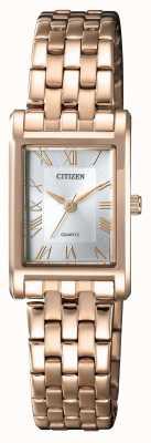 Citizen Womens quartzo banhado a ouro caso retangular mostrador prateado EJ6123-56A