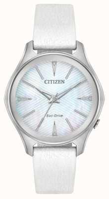 Citizen Pulseira de couro branco de discagem de prata eco-drive das mulheres EM0590-03D