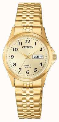 Citizen Relógio de expansão de aço inoxidável de quartzo feminino EQ2002-91P