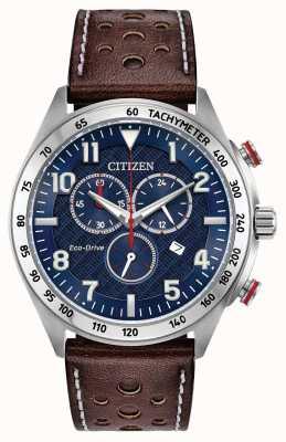 Citizen Mens eco-drive mostrador azul marrom couro crono 100m AT2418-00L