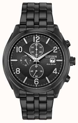 Citizen Mens eco-drive black pvd banhado data display wr100 CA0675-57E