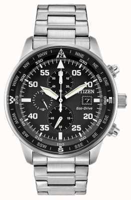 Citizen Mens aviador eco-drive preto mostrador crono de aço inoxidável 100m CA0690-53E
