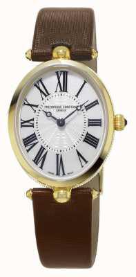 Frederique Constant Bracelete de couro marrom clássico art déco FC-200MPW2V5
