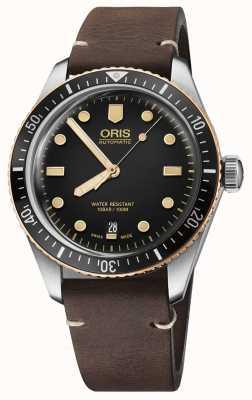 Oris Divers sessenta e cinco pulseira de couro marrom 01 733 7707 4354-07 5 20 55