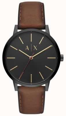 Armani Exchange Cayde mens pulseira de couro marrom mostrador preto AX2706