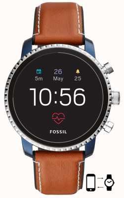 Fossil Conectado q explorista hr relógio inteligente pulseira de couro marrom FTW4016