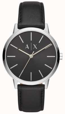 Armani Exchange Cayde mens pulseira de couro preto mostrador preto AX2703