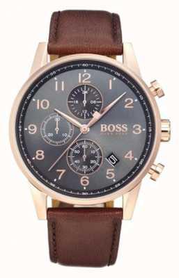 Boss Navigator cronógrafo data display mostrador preto couro marrom 1513496