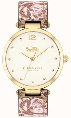 Coach Womens park watch pulseira de couro floral tom dourado 14503178
