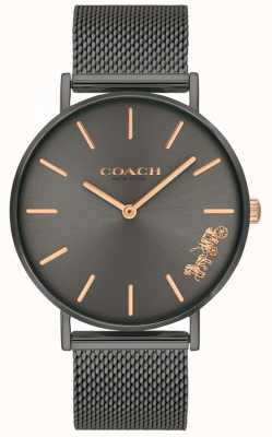 Coach Womens perry cinza ip aço malha pulseira relógio 14503127