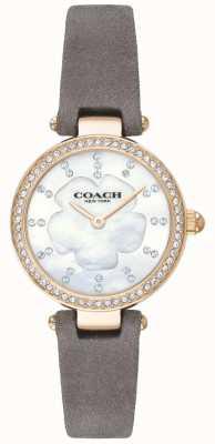 Coach Womens luxo moderno pulseira de couro cinza mãe de pérola 14503104