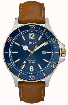Timex Mens pulseira de couro marrom mostrador azul TW2R64500D